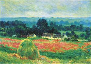 Monet - Wild Poppies - HUGE A1 size 59.4x84cm QUALITY Canvas Art Print Unframed