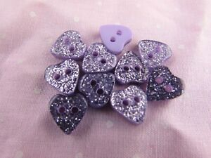 15mm Lilac Glitter Heart Buttons 2 Hole in Packs of 5, 10 or 20