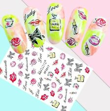 Nail Art Stickers Transfers 3D Self Adhesive Lipstick Perfume Red Rose (Xf3017)