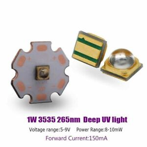 High Power  SMD 3535 1W 265-270nm Deep UV LED Ultraviolet  purple LED Diode