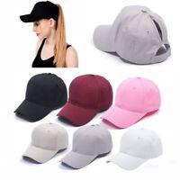 Women Adjustable Ponytail Cap Messy High Buns Cotton Baseball Hat Sport Cap US