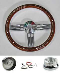 """1970-77 Mercury Comet Cougar Montego 14"""" Mahogany Steering Wheel Double Barrel"""