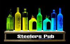 2 Lighted Liquor Bottle Display Led Steelers Bar Sign Built In