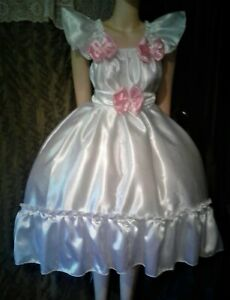 """ADULT SISSY WHITE SATIN RUFFLED BABY DOLL DRESS NO  PANTIES CHEST 52"""""""