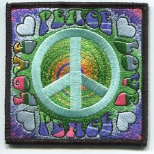 PEACE/LOVE peace sign & spiral EMBROIDERED PATCH **FREE SHIPPING* c p3467 hippie