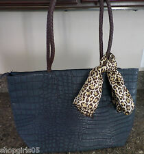 DESIGNER INSPIRED NAVY BLUE MOCK CROCK  PURSE/HANDBAG