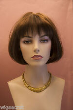 Chestnut Brown Medium Straight Bob Wig Bangs