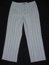 New! ANN TAYLOR sz 6 Crop Pants GRAMERCY Fit Stretch Blue Striped Trouser Capri