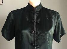Vintage Cheongsam Chinese Black Short Sleeve Tunic Top Size Size 10