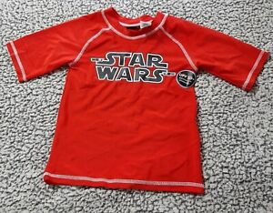 NWT STAR WARS RED & BLACK RASHGUARD BEACH SHIRT XS 4-5 UPF 50+