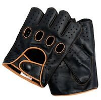 Riparo Mens Leather Reverse Stitched Fingerless Half-Finger Gloves - Black/Tan