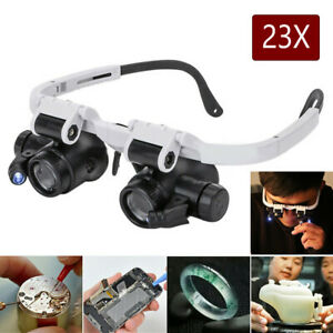 23X Magnifying Glasses Type Glass Magnifier Watch Repair Tool Phone Jewelry 2LED