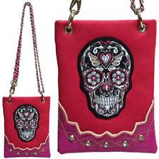 Mini  Skull Rhinestone Bling Messenger Bag FUCHSIA Purse Handbag  Shoulder Waist