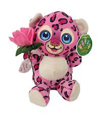 "10"" Valentines Plush Pink Leopard Stuffed Animal Holding Pink Rose & Card"