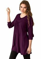NEW Womens Ellos Purple Tunic Top Blouse 3/4 Sleeve Plus Size 2X 26/28
