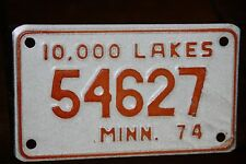 1974 MINNESOTA  License Plate  ** MOTORCYCLE **  '74 MN  * 10,000 LAKES