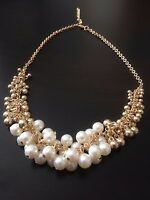 GOLD TONE PEARL BEADS CHOKER CHUNKY PENDANT CHAIN STATEMENT BIB COLLAR NECKLACE