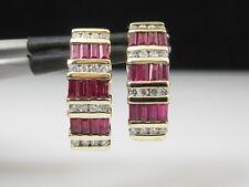 Ruby Diamond Earrings 14K Yellow Gold Hoop Channel Set Baguette Genuine Pierced