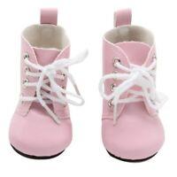 Puppen Schuhe Stiefel Schnürstiefel rosa 6 cm lang, Nr. 218
