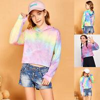Kids Teen Girls Crop Tops Tie-Dye Hoodies Long Sleeve Pullover Sweatshirts Tops