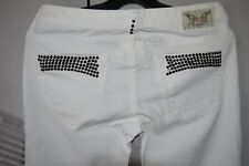 Women's Robin's Jean Marilyn White Jeans Studded  Black Crystals US 28 Orig $372