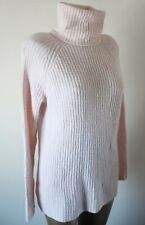 Jumper Sweater Mango Size M Soft Knit Pale Pink Roll Neck Ribbed