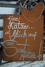Edelrost Tafel Samtpfote Spruch Garten Metall Tafel Rost Schild Text Katze Kater