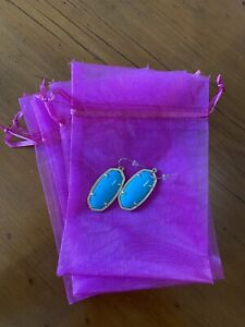 NWOT Kendra Scott Turquoise & Yellow Gold Plated Drop Earrings Approx 5cm Drop