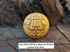 Old Rare Vintage Antique War Relic  Military Musician Button Loaded Gold Gilted