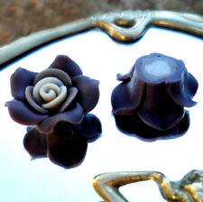 2 Perles FIMO POLYMÈRE - FLEUR ÉPANOUIE - MARRON cœur BEIGE - 11/25 MM