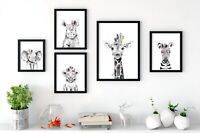 Baby Animal Nursery Prints Wall Art, Boho Style, Peekaboo Animals With Feathers