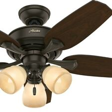 """44"""" Hunter New Bronze Ceiling Fan with a Tea Stain Glass Light Kit"""