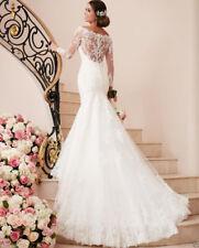 Long Sleeve White/ivory Mermaid Lace Wedding Dress Bridal Gown Custom Size