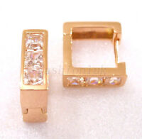 Men Women Rose Gold Plated CZ Cubic Zirconia Crystal Square Huggie Earrings 16mm