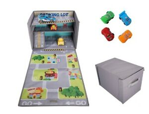 Toy Multi Storey Car Storage – Toy Box with Play Mat – Lightweight Kids Toy Box