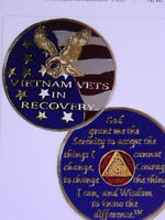 VIETNAM VET IN RECOVERY - ENAMELED MEDALLION - CHIP - RECOVERY - SOBRIETY