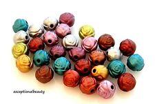 100 Assorted Metallic Satin Color Acrylic 8mm Rosebud Rose Textured Round Beads