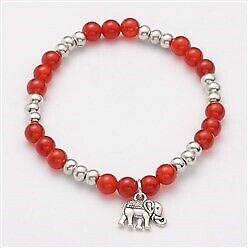 Carnelian Bead Bracelet Elephant Charm Reiki Chakra Meditation Crystal UK Seller