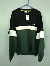 NWT VTG 90s FILA Green Black Yellow White Colorblock Crewneck Sweatshirt Sz XL