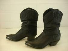 Womens 8 M Miss Capezio Black Leather Cowboy Western Boots USA Made Silver Tips