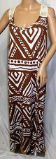 Jennifer Lauren Plus Size 2x Maxi Long Brown Aztec Summer Sun T Shirt Dress