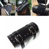 BLACK LEATHER TOOL BAG ROLL TYPE DESIGN FOR MOTORCYCLE HANDLEBAR OR REAR SEAT