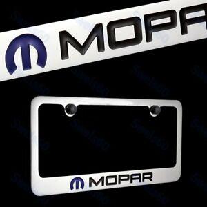 Elite AUTHENTIC DODGE MOPAR LOGO Chrome Brass Metal License Plate Frame + Bk Cap