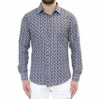 Camicia Uomo Cotone Manica Lunga Classica Indaco a Fiori Slim Fit Sartoriale