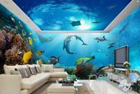 3D Tropical Fish Coral Underwater Entire Living Room Bathroom Wallpaper Wall Mur