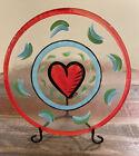 """Kosta Boda Ulrica Hydman Hand Painted Heart 13"""" Serving Platter Glass Plate"""