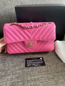 Authentic Chanel Lambskin Small Chevron Pink Bag
