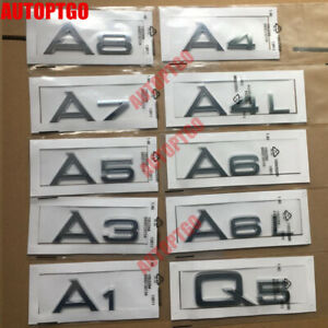 Silver Letter A1 A3 A5 A7 A8 Q3 Q5 Q7 A4 A6 /L Emblem Badge Decal For Audi Trunk