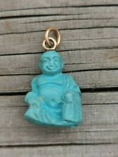 VTG HAPPY BUDDHA FAUX TURQUOISE LUCKY CHARM PENDANT
