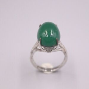 New S925 Sterling Silver Women Ring Luck Green Chalcedony Oval Ring 15mmW